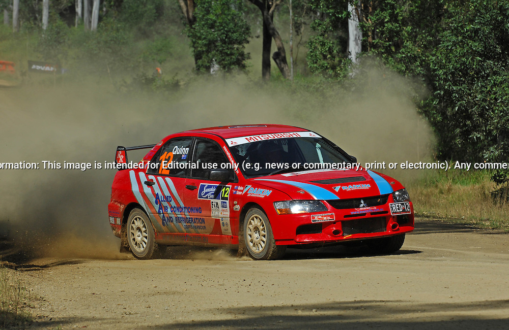 Nathan QUINN & David GREEN - Mitsubishi Lancer Evo 9.Heat 1.Red Devil Energy Drink Rally of Queensland.Sunshine Coast, QLD.9th of May 2009.(C) Joel Strickland Photographics.Use information: This image is intended for Editorial use only (e.g. news or commentary, print or electronic). Any commercial or promotional use requires additional clearance.