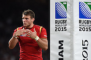 Dan Biggar of Wales looks on.Rugby World Cup 2015 pool A match, England v Wales at Twickenham Stadium in London, England  on Saturday 26th September 2015.<br /> pic by  Andrew Orchard, Andrew Orchard sports photography.