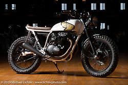"""Federal Moto's Peter and Mike Müller's Honda CB360T """"The Backburner"""" at the Mama Tried Show. Milwaukee, WI. USA. Friday February 23, 2018. Photography ©2018 Michael Lichter."""