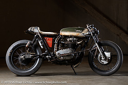 """""""The Manipulated"""", a custom BSA A65 cafe racer built by J Shia and Mike Ulman of Madhouse Motors in Boston at the Handbuilt Show. Austin, TX. USA. Friday April 20, 2018. Photography ©2018 Michael Lichter."""