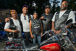 No Way Out MC members at a Club meetup at the American Legion in Catonsville, MD with the Flying Eagles MC (founded 1950). USA. August 16, 2015.  Photography ©2015 Michael Lichter.