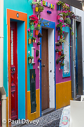 A brightly painted shopfront in Funchal, Madeira. MADEIRA, September 25 2018. © Paul Davey