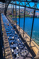 Overview of traffic on the Sydney Harbour Bridge (seen from the top of the bridge), Sydney, New South Wales, Australia