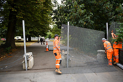© Licensed to London News Pictures. 10/07/2018. London, UK. Large metal barrier perimeter erected around the U.S Ambassador's residence in Regent's Park, London ahead of a visit by U.S President Donald Trump which starts on Thursday. Trump will be staying at Winfield House for part of his first visit to the UK as president. Photo credit: Ben Cawthra/LNP
