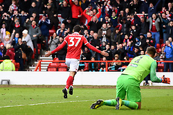 March 9, 2019 - Nottingham, England, United Kingdom - Karim Ansarifard (37) of Nottingham Forest celebrates in front of the Forest supporters after scoring a goal to make it 2-0 during the Sky Bet Championship match between Nottingham Forest and Hull City at the City Ground, Nottingham on Saturday 9th March 2019. (Credit Image: © Jon Hobley/NurPhoto via ZUMA Press)