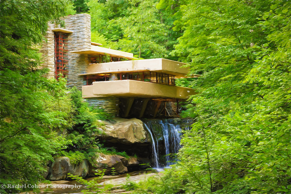 """""""Fallingwater Painterly 1""""<br /> <br /> Lovely digital painting of Fallingwater in summer!"""