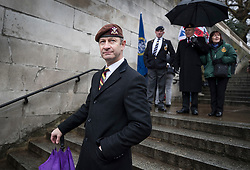 © Licensed to London News Pictures. 03/02/2018. London, UK. UKIP Leader Henry Bolton takes part in the Veterans for Justice March in central London .Photo credit: Peter Macdiarmid/LNP