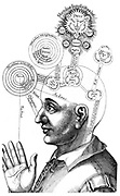 The Cabalistic analysis of the mind and the senses, attributing different functions to different regions of the brain. From Robert Fludd 'Ultriusque cosmi ... historia', Oppenheim, 1617-1619. Engraving.