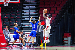 NORMAL, IL - January 03: Sommer Pitzer attempts a block on a shot by Tete Maggett during a college women's basketball game between the ISU Redbirds and the Sycamores of Indiana State January 03 2020 at Redbird Arena in Normal, IL. (Photo by Alan Look)