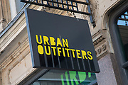 Sign for the high street clothing brand Urban Outfitters in Birmingham, United Kingdom.