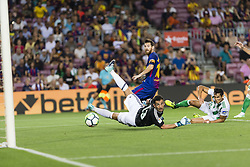 August 20, 2017 - Barcelona, Catalonia, Spain - Lionel Messi goal action during the match between FC Barcelona vs Real Betis Balompie, for the round 1 of the Liga Santander, played at Camp Nou Stadium on 20th August 2017 in Barcelona, Spain. (Credit Image: © Urbanandsport/NurPhoto via ZUMA Press)