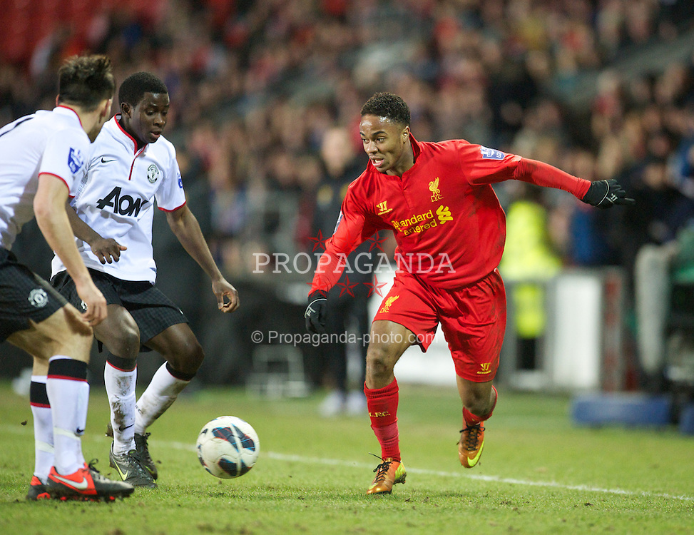 ST HELENS, ENGLAND - Monday, February 25, 2013: Liverpool's Raheem Sterling in action against Manchester United during the Premier League Academy match at Langtree Park. (Pic by David Rawcliffe/Propaganda)
