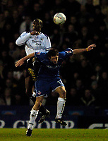 Fotball<br /> FA Cup England 2004/2005<br /> 3. runde<br /> 08.01.2005<br /> Foto: SBI/Digitalsport<br /> NORWAY ONLY<br /> <br /> Oldham Athletic v Manchester City<br /> <br /> Manchester City's Sylvain Distin (L), in what could be his last game for the club, wins a header against Oldham goalscorer Scott Vernon