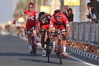 Arrival sprint, KRISTOFF Alexander (NOR) Katusha, VAN AVERMAET Greg (BEL) BMC,  KUZNETSOV Viacheslav (RUS) Katusha, during the 15th Tour of Qatar 2016, Stage 4, Al Zubarah Fort - Madinat Al Shamal (189Km), on February 11, 2016 - Photo Tim de Waele / DPPI