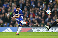 Pedro of Chelsea shoots and scores his sides 1st goal. The Emirates FA cup, 3rd round match, Chelsea v Peterborough Utd at Stamford Bridge in London on Sunday 8th January 2017.<br /> pic by John Patrick Fletcher, Andrew Orchard sports photography.