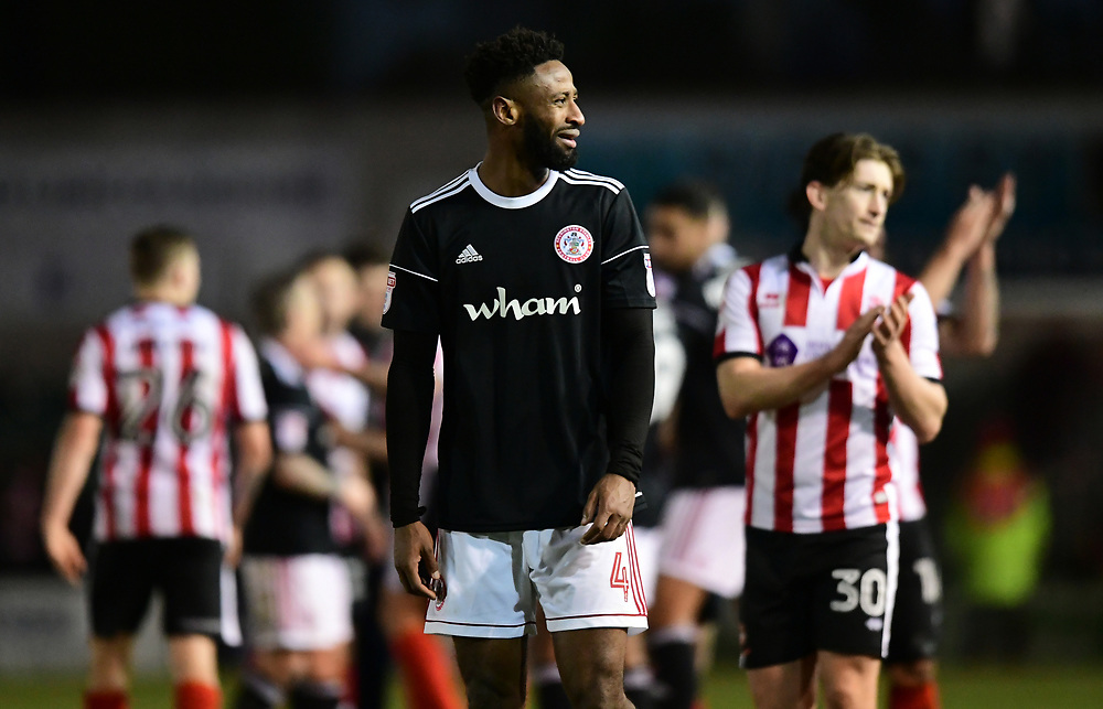 Accrington Stanley's Janoi Donacien reacts towards the Lincoln City fans at the end of the game<br /> <br /> Photographer Chris Vaughan/CameraSport<br /> <br /> The EFL Sky Bet League Two - Lincoln City v Accrington Stanley - Saturday 16th December 2017 - Sincil Bank - Lincoln<br /> <br /> World Copyright © 2017 CameraSport. All rights reserved. 43 Linden Ave. Countesthorpe. Leicester. England. LE8 5PG - Tel: +44 (0) 116 277 4147 - admin@camerasport.com - www.camerasport.com