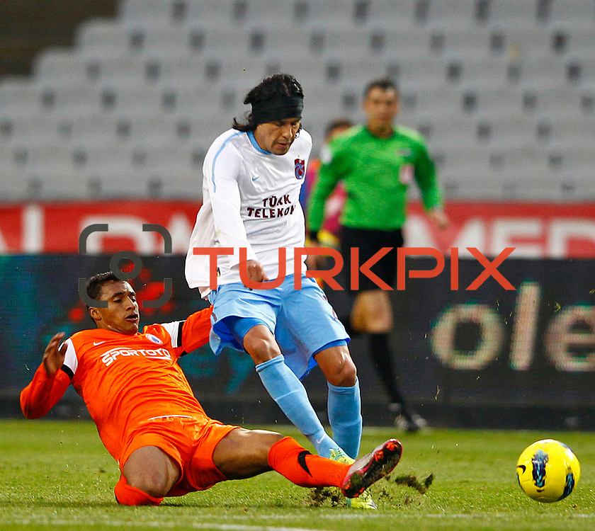 Trabzonspor's Gustavo Colman (R) during their Turkish soccer superleague match IBBSpor between Trabzonspor at the Ataturk Olympic stadium in Istanbul Turkey on Saturday 07 January 2012. Photo by TURKPIX