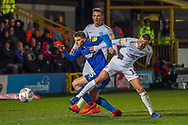 AFC Wimbledon defender Steve Seddon (15) chasing a lose ball in the box during the EFL Sky Bet League 1 match between AFC Wimbledon and Peterborough United at the Cherry Red Records Stadium, Kingston, England on 12 March 2019.