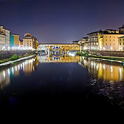 Ponte Vecchio over the River Arno, Florence (Firenze) at night. High resolution panorama.