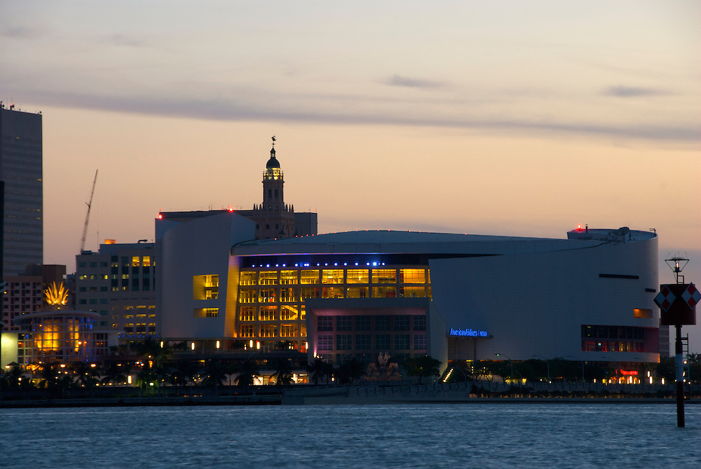View of the American Airlines Arena in Miami Downton, The AA arena is home to all major cultural and sport events in Miami. It's also home of the Miami Heat.