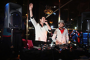 l to r: Robin Thicke and DJ Cassidy at the Robin Thicke?s Album Release ' Something Else' with Exclusive Event at Rainbow Room sponsored by Target on September 20, 2008 in New York City.