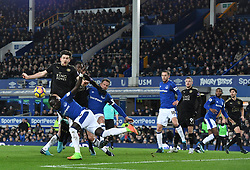 Everton's Oumar Niasse clears the ball
