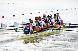 Great Britain's George Thomas, Tom Jeffery, William Satch, Tom Ransley, Mohamed Sbihi, Alan Sinclair, Matthew Tarrant, Oliver Wynne-Griffith and Henry Fieldman compete in the Men's Eight Repechage 1 during day two of the 2018 European Championships at the Strathclyde Country Park, North Lanarkshire. PRESS ASSOCIATION Photo. Picture date: Friday August 3, 2018. See PA story ROWING European. Photo credit should read: Ian Rutherford/PA Wire. RESTRICTIONS: Editorial use only, no commercial use without prior permission