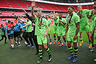 Forest Green Rovers Christian Doidge(9) waves to the crowd during the Vanarama National League Play Off Final match between Tranmere Rovers and Forest Green Rovers at Wembley Stadium, London, England on 14 May 2017. Photo by Shane Healey.