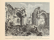 Ruins of the Crusaders' church at el Bireh, the ancient Beeroth. The place within is now a wheat field from the book Picturesque Palestine, Sinai, and Egypt By  Colonel Wilson, Charles William, Sir, 1836-1905. Published in New York by D. Appleton and Company in 1881  with engravings in steel and wood from original Drawings by Harry Fenn and J. D. Woodward Volume 1