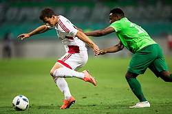 Jakub Holubek of AS Trencin vs Julius Wobay of NK Olimpija during 1st Leg football match between NK Olimpija Ljubljana (SLO) and FK AS Trenčin (SVK) in Second Qualifying Round of UEFA Champions League 2016/17, on July 13, 2016 in SRC Stozice, Ljubljana, Slovenia. Photo by Vid Ponikvar / Sportida