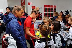 Mascots visit the changing room prior to kick-off- Mandatory by-line: Nizaam Jones/JMP - 28/04/2019 - FOOTBALL - Stoke Gifford Stadium - Bristol, England - Bristol City Women v West Ham United Women - FA Women's Super League 1