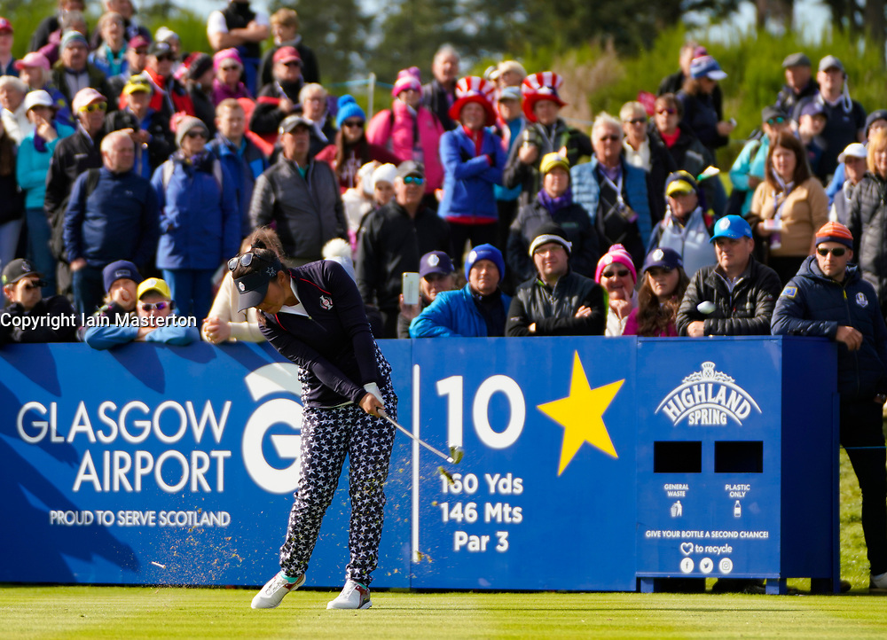 Auchterarder, Scotland, UK. 15 September 2019. Sunday Singles matches on final day  at 2019 Solheim Cup on Centenary Course at Gleneagles. Pictured; Megan Khang tee shot on 10th hole. Iain Masterton/Alamy Live News