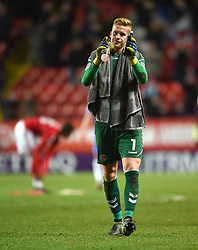 Charlton Athletic's goalkeeper Ben Amos applauds the home fans at full time