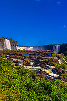 Iguazu Falls (Iguacu in Portugese), on the border of Brazil and Argentina. It is one of the New 7 Wonders of Nature and is a UNESCO World Heritage Site. There are 275 waterfalls total which make up the largest waterfalls in the world. This photo is on the Brazil side of the Falls.
