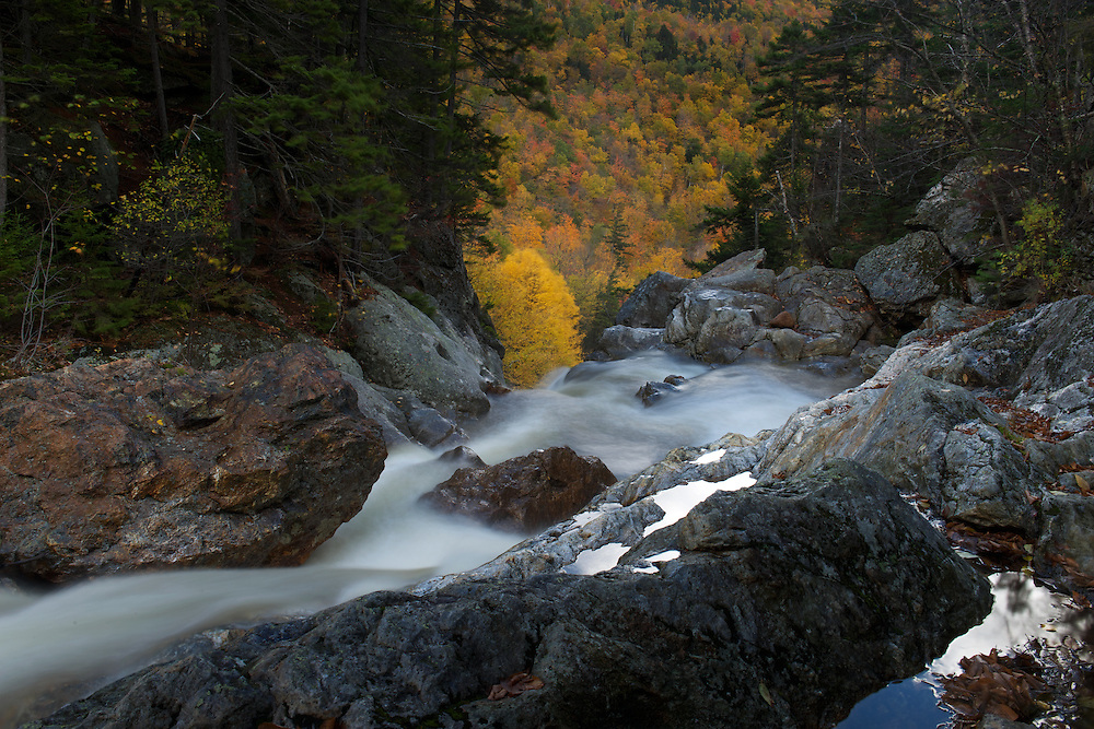 Fall colours and waterfall,  New Hampshire