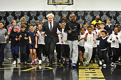 © Licensed to London News Pictures. 01/10/2012. London,UK.The Mayor of London Boris Johnson and Mo Farah Olympic champion meet young basketball stars of the future at Lilian Baylis Old School today 1st October 2012 in London.Photo credit : Thomas Campean/LNP.
