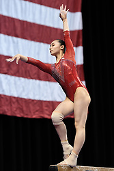 March 2, 2019 - Greensboro, North Carolina, US - YUFEI LU from China practices on the balance beam before the competition at the Greensboro Coliseum in Greensboro, North Carolina. (Credit Image: © Amy Sanderson/ZUMA Wire)