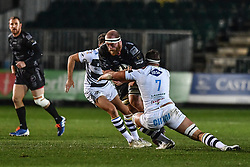 Joseph Davies of Dragons is tackled by Giovanni Licata of Zebre<br /> <br /> Photographer Craig Thomas/Replay Images<br /> <br /> Guinness PRO14 Round 7 - Dragons v Zebre - Saturday 30th November 2019 - Rodney Parade - Newport<br /> <br /> World Copyright © Replay Images . All rights reserved. info@replayimages.co.uk - http://replayimages.co.uk