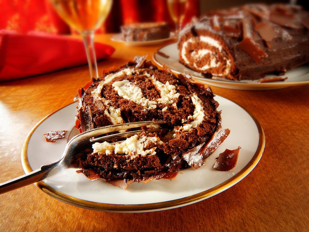 Traditional chocolate Swiss roll or log.