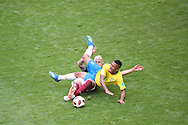 Gabriel Jesus of Brazil is tackled by Carlos Salcedo of Mexico during the 2018 FIFA World Cup Russia, round of 16 football match between Brazil and Mexico on July 2, 2018 at Samara Arena in Samara, Russia - Photo Tarso Sarraf / FramePhoto / ProSportsImages / DPPI