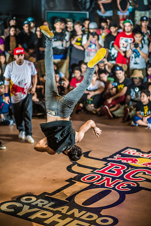 Judg B-boy Reveal performs against Judge B-boy Roxrite at RedBull BCOne Cypher in Orlando, Florida on June 30th 2013.