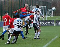 Fotball<br /> Privatkamp<br /> Manchester United Reserves v Rosenborg<br /> 23.11.2008<br /> Foto: Richard Lane Photography/Digitalsport<br /> NORWAY ONLY<br /> <br /> Ben Amos punches under late pressure<br /> Christer Basma