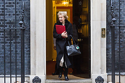 London - Leader of the House of Commons Andrea Leadsom leaves the weekly meeting of the UK cabinet at Downing Street. January 23 2018.