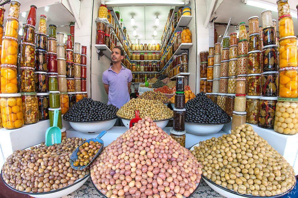 Olives for sale in the souk in Marrakech, Morocco.