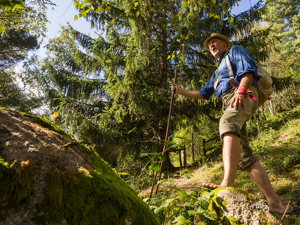 Senior man hiking in Middle Black Forest Baden-Wuerttemberg, Germany
