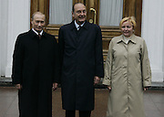 Moscow, Russia, 09/05/2005..Russian President Vladimir Putin and wife Ludmilla greet French President Jaques Chirac at the Kremlin before the parade in Red Sqaure marking the 60th anniversary of victory in the Great Patriotic War.