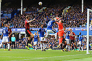 Everton Goalkeeper Jordan Pickford punches the ball clear. Premier league match, Everton vs Bournemouth at Goodison Park in Liverpool, Merseyside on Saturday 23rd September 2017.<br /> pic by Chris Stading, Andrew Orchard sports photography.