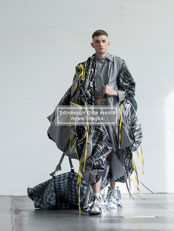 Pictured: design by Qianyu Zhu.<br /> <br /> <br /> Students studying fashion design at Glasgow School of Art previewed their work before their annual degree show.<br /> <br /> © Dave Johnston / EEm
