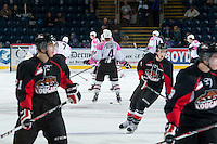 KELOWNA, CANADA - NOVEMBER 8: The Kelowna Rockets warm up against the Prince George Cougars on November 8, 2013 at Prospera Place in Kelowna, British Columbia, Canada.   (Photo by Marissa Baecker/Getty Images)  *** Local Caption ***