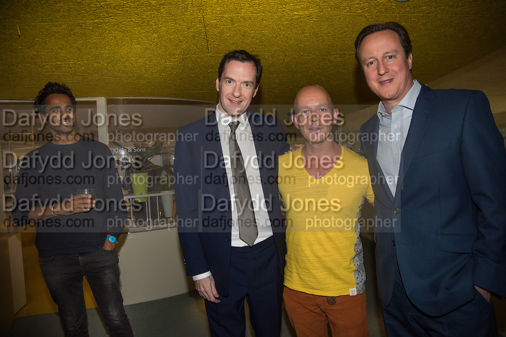 GEOFFREY OSBORNE; STEVE HILTON; DAVID CAMERON, Launch of ' More Human',  Designing a World Where People Come First' by Steve Hilton. Party held at Second Home in Princelet St, off Brick Lane, London. 19 May 2015.